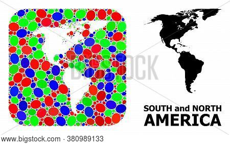 Vector Mosaic And Solid Map Of South And North America. Bright Geographic Map Created As Carved Shap