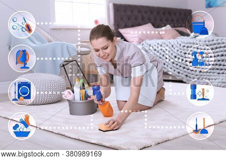 Cleaning Service Related Icons And Chambermaid Removing Dirt From Carpet