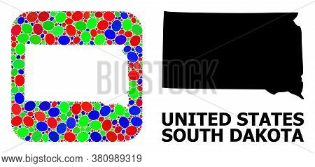 Vector Mosaic And Solid Map Of South Dakota State. Bright Geographic Map Constructed As Stencil From