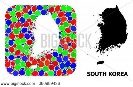 Vector Mosaic And Solid Map Of South Korea. Bright Geographic Map Designed As Subtraction From Round