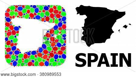 Vector Mosaic And Solid Map Of Spain. Bright Geographic Map Created As Stencil From Rounded Square W