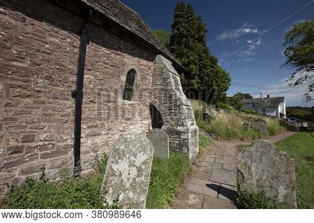 Cwmyoy, Monmouthshire, Wales, 7th August 2020, A Buttress On The Church Of St Martin With Its Famous