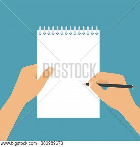 Flat Design Illustration Of Hands Of A Freelancer Or Student With A Pencil. Block With Ring Binding