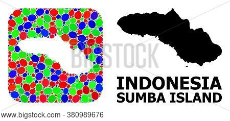 Vector Mosaic And Solid Map Of Sumba Island. Bright Geographic Map Constructed As Subtraction From R