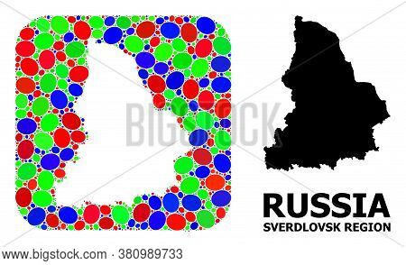 Vector Mosaic And Solid Map Of Sverdlovsk Region. Bright Geographic Map Designed As Subtraction From