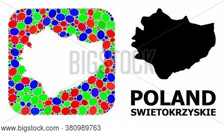 Vector Mosaic And Solid Map Of Swietokrzyskie Province. Bright Geographic Map Constructed As Subtrac