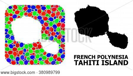 Vector Mosaic And Solid Map Of Tahiti Island. Bright Geographic Map Created As Hole From Rounded Squ