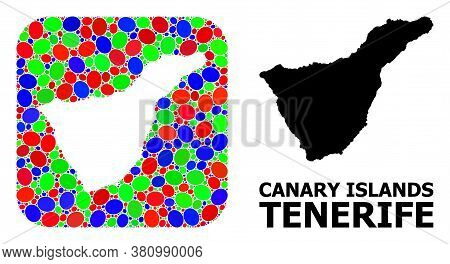 Vector Mosaic And Solid Map Of Tenerife Island. Bright Geographic Map Designed As Stencil From Round