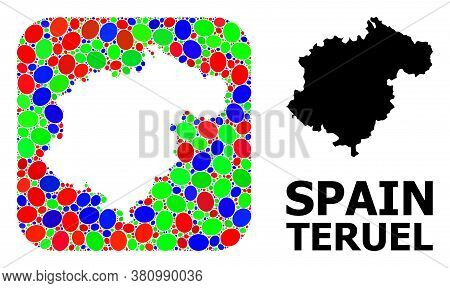 Vector Mosaic And Solid Map Of Teruel Province. Bright Geographic Map Constructed As Subtraction Fro