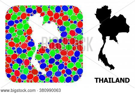 Vector Mosaic And Solid Map Of Thailand. Bright Geographic Map Constructed As Subtraction From Round