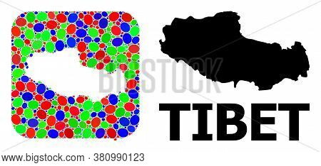 Vector Mosaic And Solid Map Of Tibet. Bright Geographic Map Constructed As Stencil From Rounded Squa