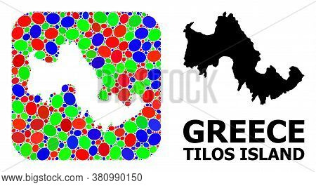 Vector Mosaic And Solid Map Of Tilos Island. Bright Geographic Map Created As Hole From Rounded Squa