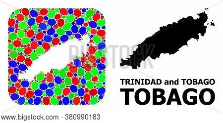 Vector Mosaic And Solid Map Of Tobago Island. Bright Geographic Map Created As Stencil From Rounded
