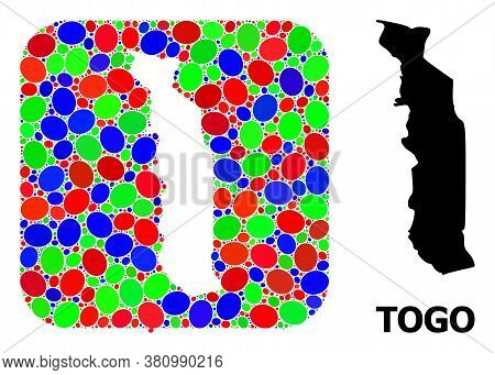 Vector Mosaic And Solid Map Of Togo. Bright Geographic Map Created As Stencil From Rounded Square Wi