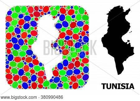 Vector Mosaic And Solid Map Of Tunisia. Bright Geographic Map Designed As Subtraction From Rounded S
