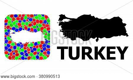Vector Mosaic And Solid Map Of Turkey. Bright Geographic Map Constructed As Subtraction From Rounded