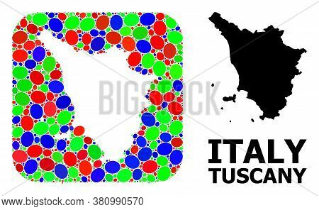 Vector Mosaic And Solid Map Of Tuscany Region. Bright Geographic Map Constructed As Subtraction From
