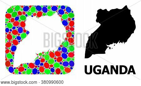 Vector Mosaic And Solid Map Of Uganda. Bright Geographic Map Created As Carved Shape From Rounded Sq