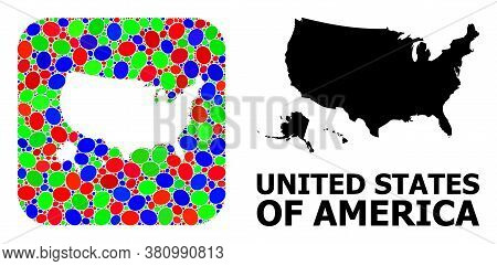 Vector Mosaic And Solid Map Of Usa Territories. Bright Geographic Map Designed As Carved Shape From