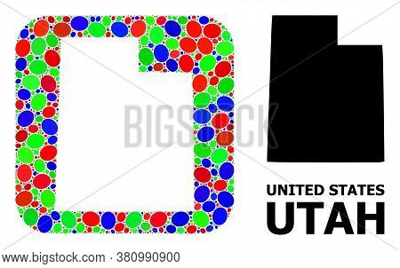 Vector Mosaic And Solid Map Of Utah State. Bright Geographic Map Created As Hole From Rounded Square