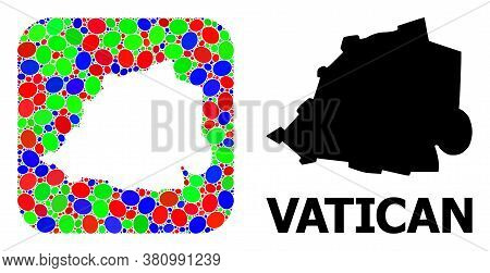 Vector Mosaic And Solid Map Of Vatican. Bright Geographic Map Designed As Carved Shape From Rounded