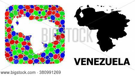 Vector Mosaic And Solid Map Of Venezuela. Bright Geographic Map Created As Carved Shape From Rounded