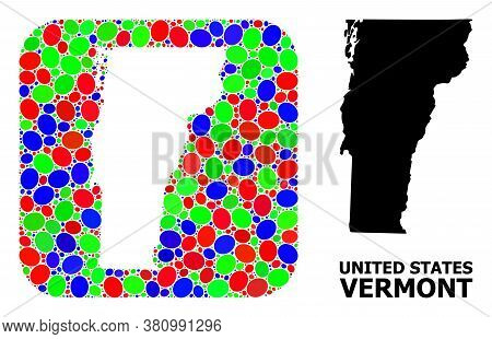 Vector Mosaic And Solid Map Of Vermont State. Bright Geographic Map Designed As Subtraction From Rou