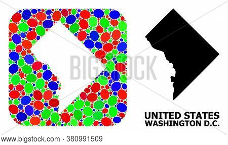 Vector Mosaic And Solid Map Of Washington Dc. Bright Geographic Map Designed As Subtraction From Rou