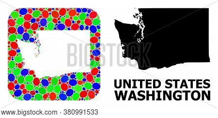 Vector Mosaic And Solid Map Of Washington State. Bright Geographic Map Designed As Hole From Rounded