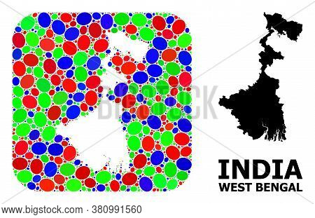 Vector Mosaic And Solid Map Of West Bengal State. Bright Geographic Map Designed As Carved Shape Fro