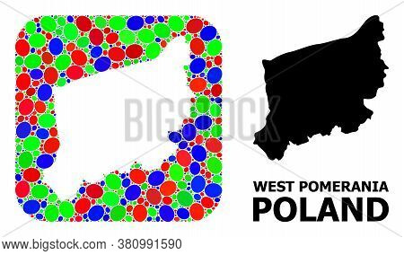 Vector Mosaic And Solid Map Of West Pomerania Province. Bright Geographic Map Created As Subtraction