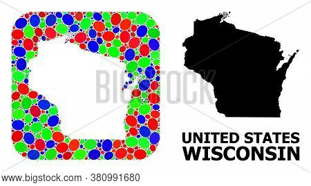 Vector Mosaic And Solid Map Of Wisconsin State. Bright Geographic Map Created As Carved Shape From R