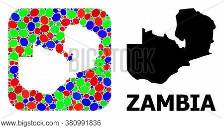 Vector Mosaic And Solid Map Of Zambia. Bright Geographic Map Created As Carved Shape From Rounded Sq