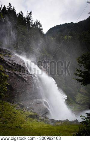 Waterfall In Nature. Krimml Waterfall In Austria. Mountain Waterfall. Landscape.