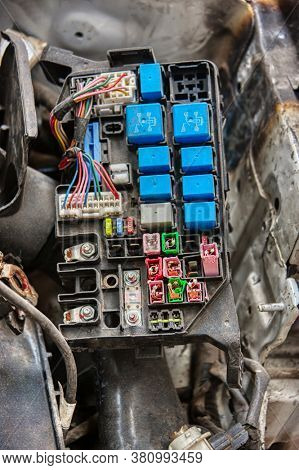 vintage car fuse box with relays and fuses
