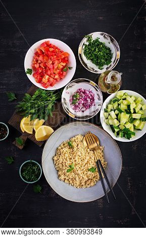 Tabbouleh Salad. Traditional Middle Eastern Or Arab Dish. Levantine Vegetarian Salad With Parsley, M