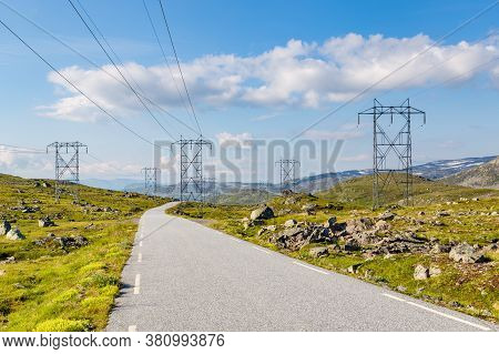 Scenics With Electricity Transmission Pylons Along The National Scenic Route Aurlandsfjellet Between