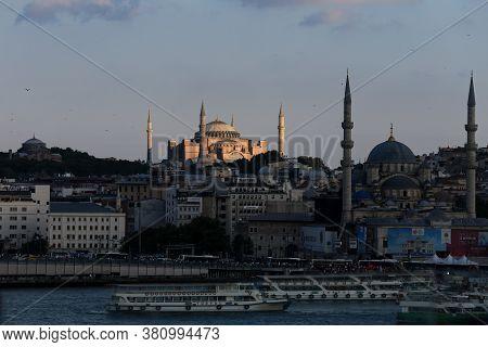 Istanbul, Turkey - August 01, 2020: Hagia Sophia Mosque In Istanbul City.