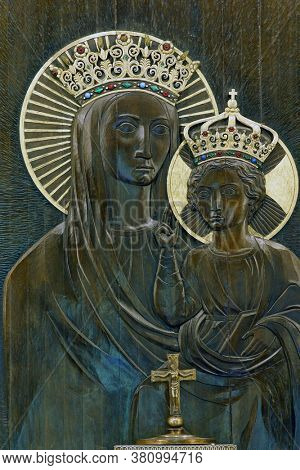 ZAGREB, CROATIA - OCTOBER 16, 2014: Our Lady, the high altar in the parish church of Our Lady of Sljeme - Queen of Croats on Sljeme, Zagreb, Croatia
