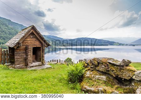 Nesheim Farmstead Called Nesheimtunet Near Voss With Old Wooden Farm Buildings In Norway. Part Of Vo