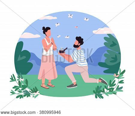 Marriage Proposal 2d Vector Web Banner, Poster. Man On One Knee Present Diamond Ring. Romantic Coupl