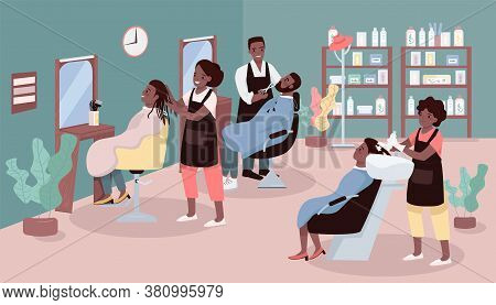 Beauty Parlor Flat Color Vector Illustration. Women And Men Haircut Service. Beauty Salon With Afric