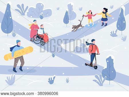 Winter Parkland Flat Color Vector Illustration. Children With Dog And Elderly Couple In Snowy Park.