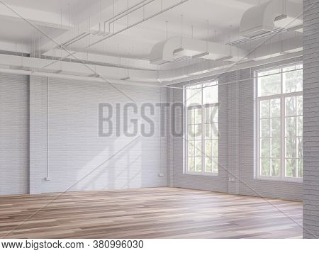 Loft Style Interior Space 3d Render,there Are White Brick Walls,wooden Floors The Ceiling Shows The