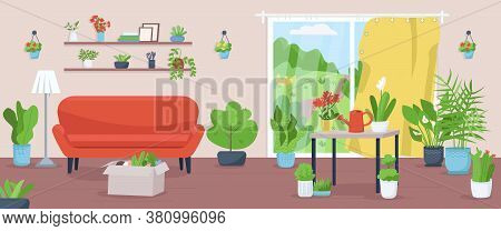 Apartment With Plants Flat Color Vector Illustration. Living Room For Horticulture. Cultivate Vegeta