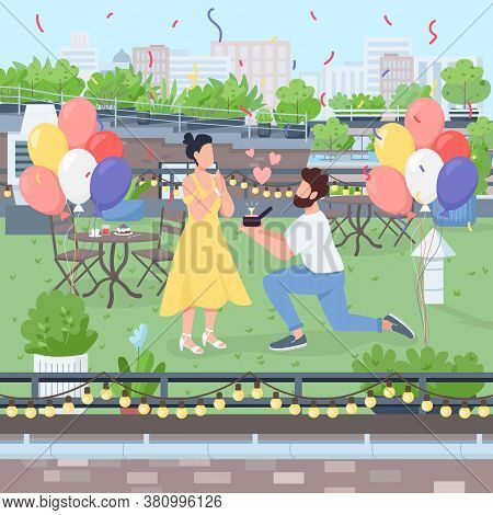 Surprise Marriage Proposal Flat Color Vector Illustration. Boyfriend Propose On Knee With Diamond Ri