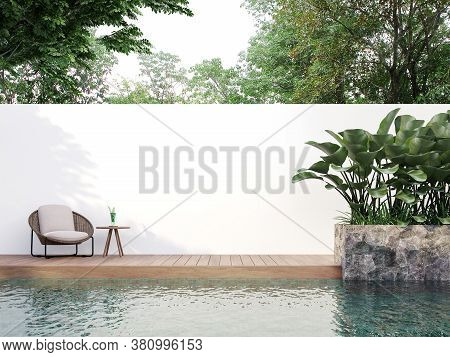 Modern Style Swimmimg Pool Terrace With Blank Wall For Copy Space 3d Render, There Are Wooden Floor,