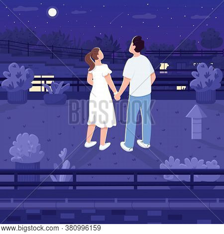 Nighttime Roof Date Flat Color Vector Illustration. Couple Of Teenagers Stargazing. Man And Woman Ho