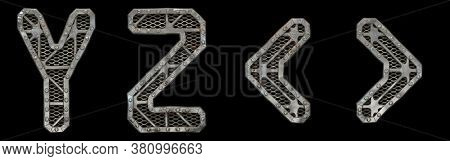 Mechanical alphabet made from rivet metal with gears on black background. Set of letters Y, Z and symbol left, right angle bracket. 3D rendering