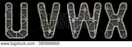 Mechanical alphabet made from rivet metal with gears on black background. Set of letters U, V, W, X. 3D rendering